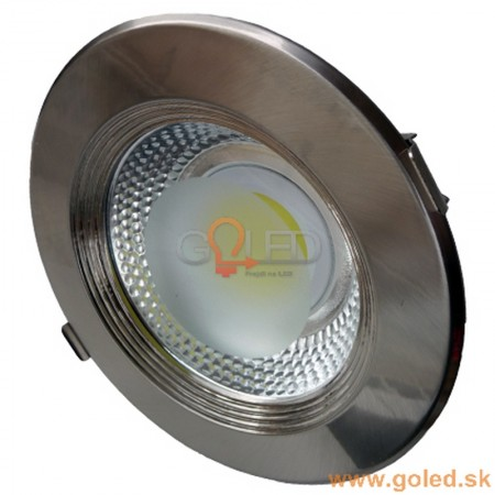 Zapustené okrúhle stropné COB LED svietidlo INOX