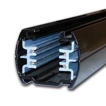 Čierny koľajnicový systém pre interiérové reflektory s dvomi okruhmi