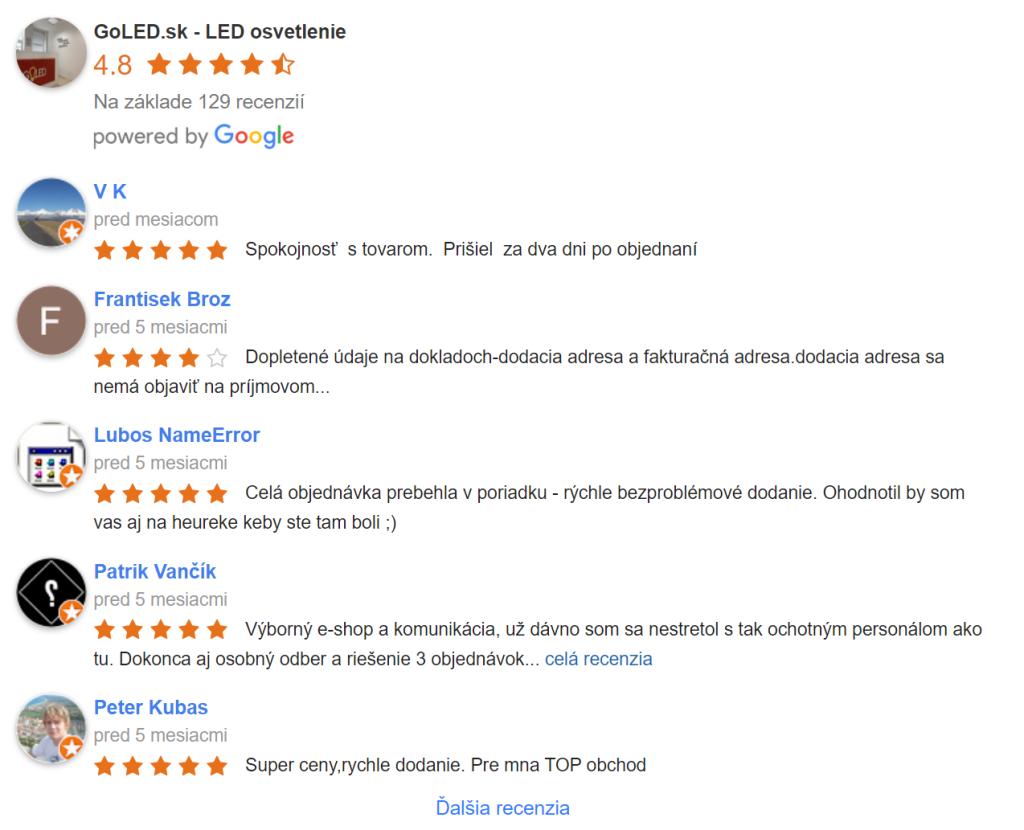 Hodnotenia Goledu na Google mapách