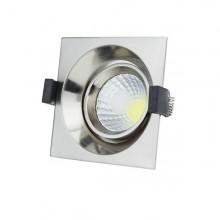 Zapustené hranaté chrómové LED svietidlo 8W