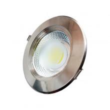 Zapustené okrúhle chrómové LED svietidlo 10W INOX