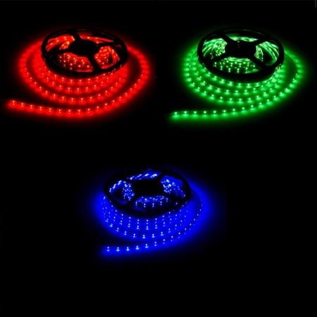 Červené, zelené a modré LED pásy