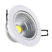 Naklápateľné biele zapustené okrúhle stropné COB LED svietidlo 5W