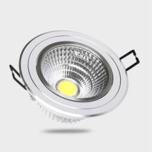 Naklápateľné bielo-strieborné zapustené okrúhle stropné COB LED svietidlo 5W