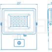LED reflektor 30W so senzorom – rozmery