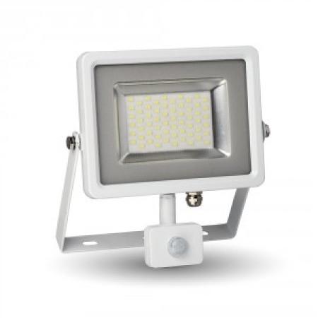 Biely High-End SMD LED reflektor 50W s pohybovým senzorom