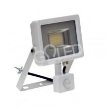 Prémiový biely LED reflektor 20W s pohybovým senzorom