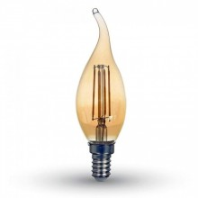 Jantárová LED filament sviečka E14 4W plameň