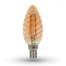Jantárová LED filament twist sviečka E14 4W