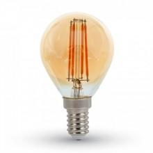 Jantárová LED filament žiarovka E14 P45 4W