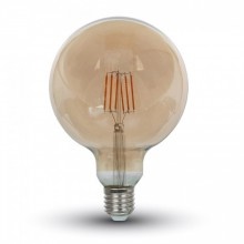 Jantárová LED filament žiarovka E27 G125 6W