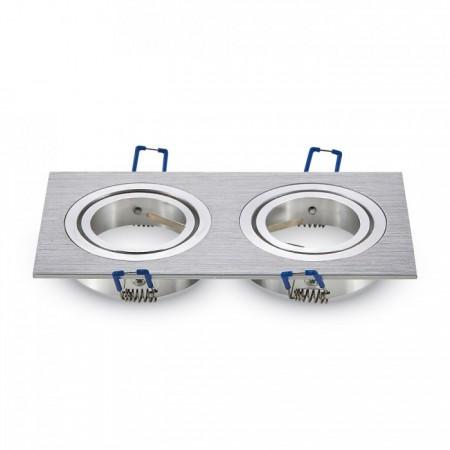 Dvojitý hranatý hliníkový rámik na žiarovky