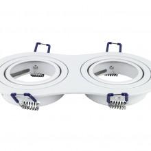 Dvojitý okrúhly biely hliníkový rámik na žiarovky