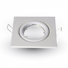 Hranatý biely kovový rámik na žiarovky