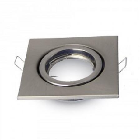 Hranatý satin nikel kovový rámik na žiarovky