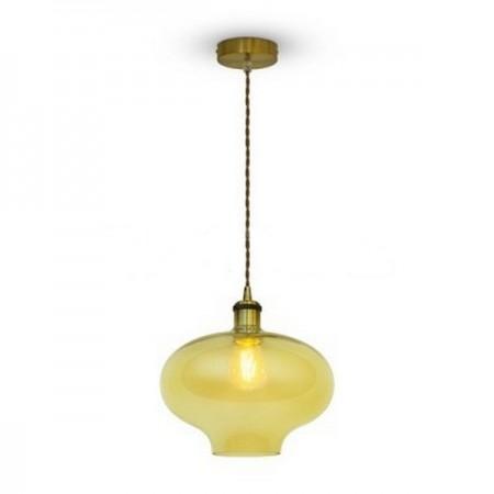 Jantárová sklenená závesná lampa ovál