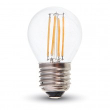 LED filament žiarovka E27 G45 4W