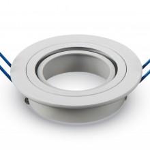 Okrúhly biely hliníkový rámik na žiarovky