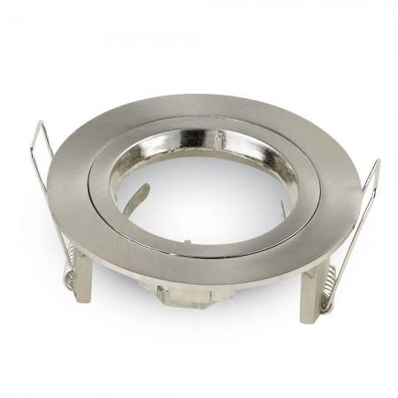 Okrúhly satin nikel hliníkový rámik na žiarovky malý