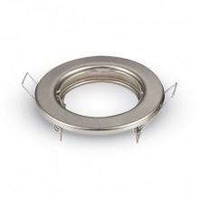 Okrúhly satin nikel kovový rámik na žiarovky