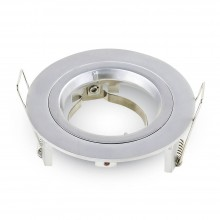 Okrúhly strieborný hliníkový rámik na žiarovky malý