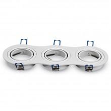 Trojitý okrúhly biely hliníkový rámik na žiarovky