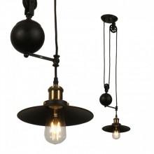 Čierna závesná lampa s nastaviteľnou výškou