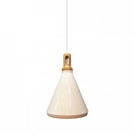 Biela kovová závesná lampa kužeľ