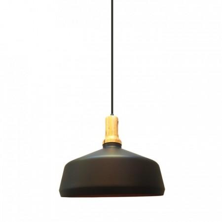 Čierna kovová závesná lampa kupola