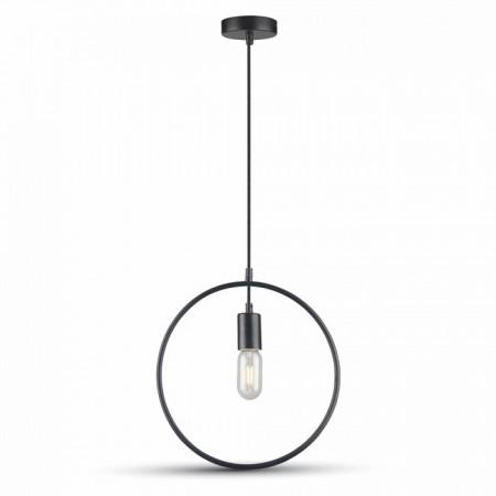 Matná čierna závesná lampa kruh