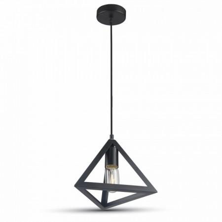 Matná čierna závesná lampa pyramída