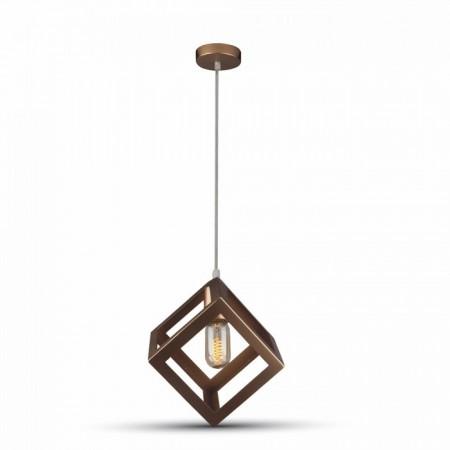 Matná zlatá závesná lampa kocka
