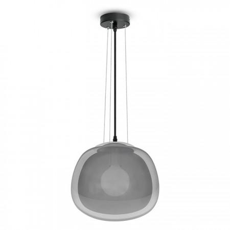 Sivá sklenená závesná lampa