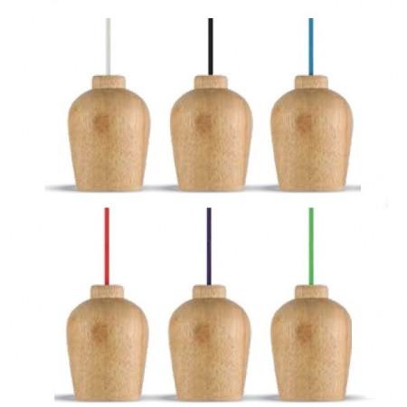 Drevená závesná lampa s farebným káblom (6 farieb)