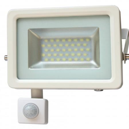 Biely LED reflektor 30W s pohybovým senzorom