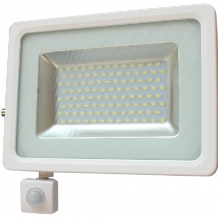 Biely LED reflektor 50W s pohybovým senzorom