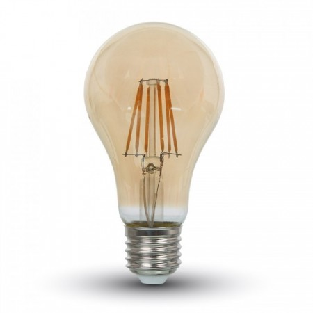 Profesionálna jantárová LED filament žiarovka E27 A60 4W so SAMSUNG čipmi