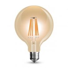 Profesionálna jantárová LED filament žiarovka E27 G95 6W so SAMSUNG čipmi