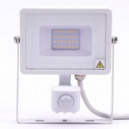 Profesionálny biely LED reflektor 20W s pohybovým senzorom so SAMSUNG čipmi