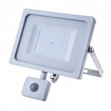 Profesionálny biely LED reflektor 50W s pohybovým senzorom so SAMSUNG čipmi