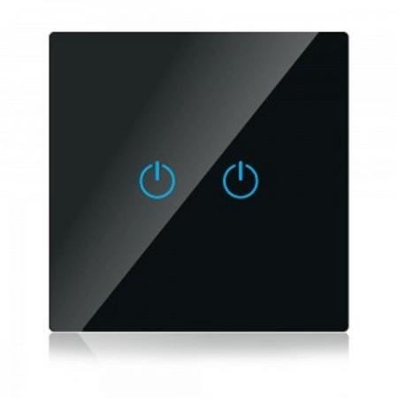 Dvojitý čierny smart Wi-Fi dotykový vypínač