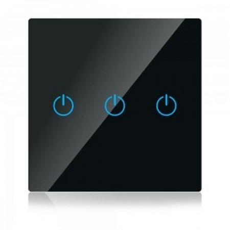 Trojitý čierny smart Wi-Fi dotykový vypínač