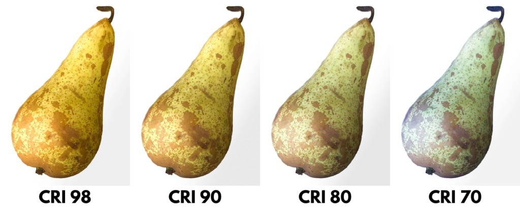 Rôzne hladiny CRI na osvetlení hrušky