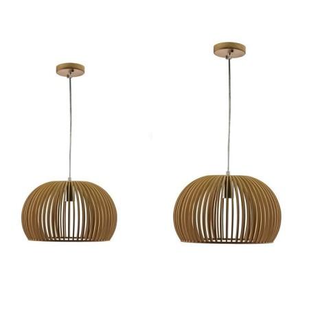 Drevená závesná lampa guľa (2 veľkosti)